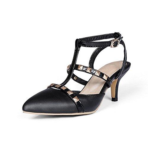 AllhqFashion Damen Hoher Absatz Rein Weiches Material Schnalle Sandalen mit Hohem Absatz Schwarz