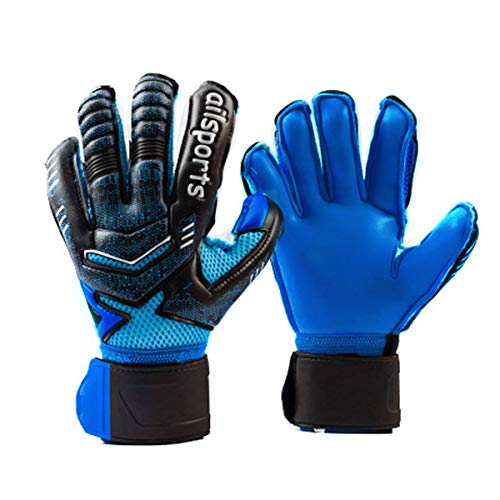 Coodoo Adult & Youth Goalkeeper Gloves Goalie Gloves with Pro Finger Spines, Make The Toughest Saves-Secure and Comfortable,Fit Match Training for Women and Men (Black & Blue, 6) (Finger Spines Gloves Goalkeeper)