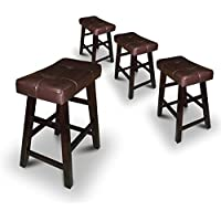 Set of 4 24 Saddle Back Espresso Bar Stools