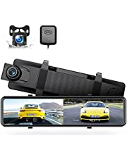 """Dash Cam Mirror, 12"""" 4K Rear View Mirror Camera Voice Control GPS and Speed Full Touch Screen w/Waterproof Reverse Backup Camera, Dash Cam Front and Rear w/Parking Assistant, Night Vision"""