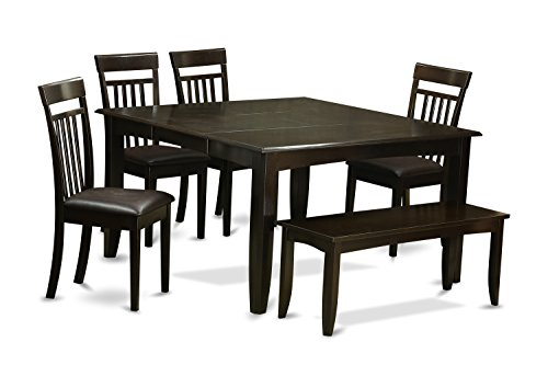 East West Furniture 6 PC Room Set Dinette Table with Leaf and 4 Dining Chairs Plus Bench, Faux Leather Seat Cappuccino Finish (Dinettes Plus Furniture)