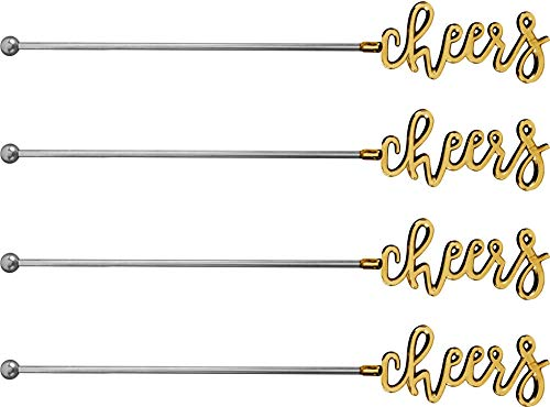 Palais Essentials Stainless Steel Coffee Beverage Stirrers Stir Cocktail Drink Swizzle Stick - 7 Inches Long - Set of 4 (Gold,