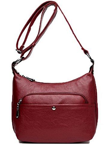 AllhqFashion Femme Zippers Mode Pu Cuir Des sacs Décontractée Sacs à bandoulière,FBUFBD180870 Rouge Vineux