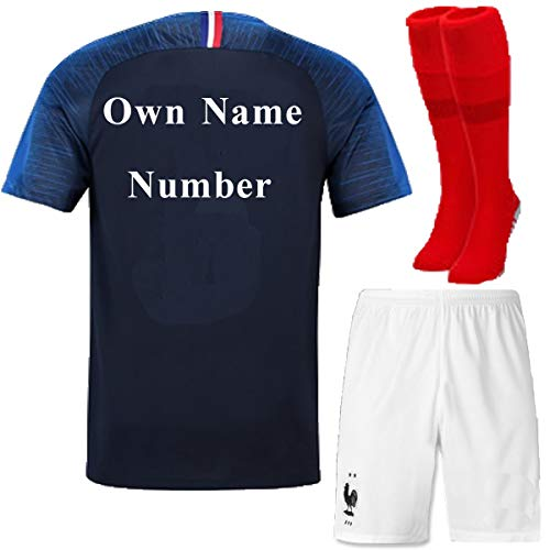 FC FirstClass 2018 Football Soccer Club Navy Blue Home Kit Short Sleeve Jersey Outfit Kids 3-12 Years Suit &Socks Free Ice Face Cloth (3-4 years, Own Name Number) for $<!--$20.99-->