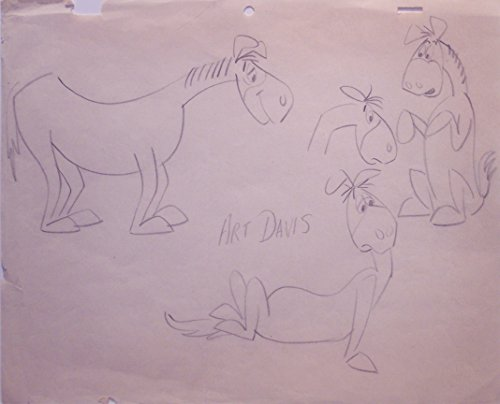 Original Hanna-Barbera Pencil Model Sheet of the Old Horse. Signed by Director, Art Davis - Hanna Barbera Animation Art