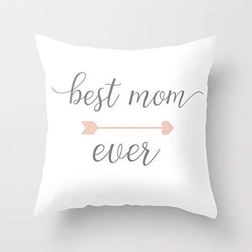 Best Mom Ever, Gift For Mother, Mother's Day Pillow Cover, White Pillow Cover 16x16, Arrow Decorations, Mint Green Pillowcase, Yellow Home Decor, Gift for Mom
