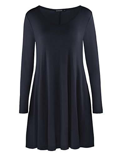 OUGES Women's Casual Long Sleeve Pockets Loose T-Shirt Dress(Black,XXL)
