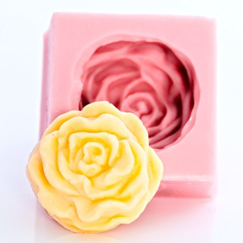 Silicone Cabbage Rose Mold Food Safe Fondant, Chocolate, Candy, Mint, Resin, Polymer Clay, Soap, Wax, Jewelry, Craft Mold. Flexible and easy to (Clay Handmade Soap)