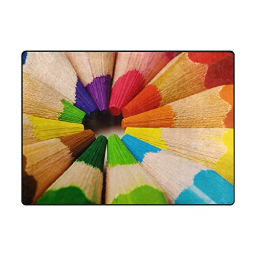 Area Rugs 63 x 48 Inch Abstract Rainbow Crayon Floor Carpet Mat Doormats for Living Room Home (Crayons Rug)