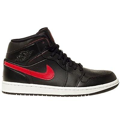Jordan Mens Air Jordan 1 Mid Black Team Red Team Red White Size 7