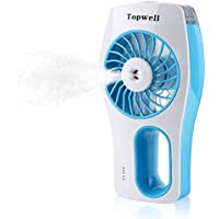 Topwell USB Mini Misting Fan Built-in Rechargeable Misting Fan Handheld Personal Cooling Mist Humidifier for Home Office and Travel (Blue)