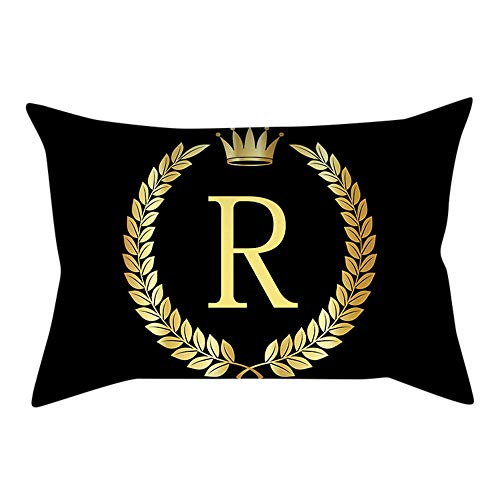 Alimao Fashion Non-toxic green Pillow Cover Black and Gold Letter Pillowcase Sofa Cushion Cover Home Decor