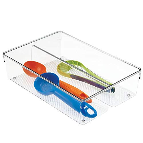 """mDesign Kitchen Cabinet Plastic Drawer Organizer Tray, Non-Skid Feet - Divided 2 Compartment Storage for Cutlery, Serving Spoons, Cooking Utensils, Gadgets - BPA Free, 8"""" x 12"""" x 3"""" - Clear"""