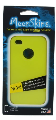 Moonskins MSK-IY01-01 Glow in the Dark Case for iPhone 4/4S - 1 Pack - Carrying Case - Retail Packaging - Yellow (Glow In The Dark Skin Iphone 4s)