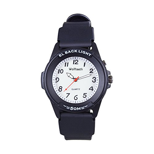 Wolfteeth Kids Watches Boys Analog Watch with Light Kids Quartz Watch Black 50M Waterproof 42mm White Dial Rubber Watch Band 17mm 305201 -