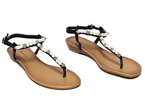 Femmes Noir Ecoleather Mannika Chaussures Ch3013 Flops Sandales IYEHD9eW2