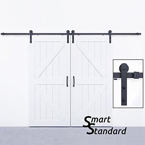 SMARTSTANDARD 10ft Heavy Duty Double door Sliding Barn Door Hardware (Black) (I Shape Hangers) (Heavy Duty Sliding Door Hardware)