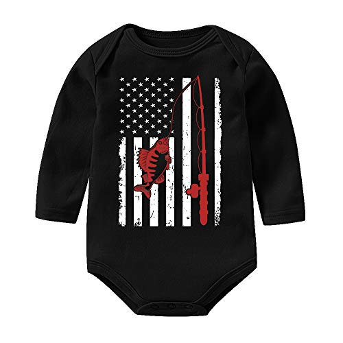 LianMai Fishing with American Flag Unisex Baby Girls Boys Bodysuits Long Sleeve Onesies Romper Outfits -