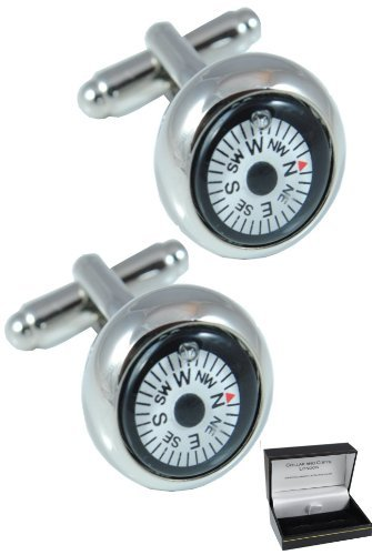 COLLAR AND CUFFS LONDON - Premium Cufflinks with Gift Box - Mini Magnetic Compass - Brass - White Round Face - Fully Rotating Compass - Silver Coloured Exterior