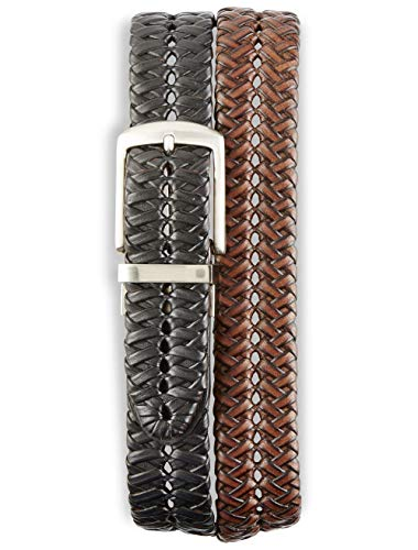(Harbor Bay by DXL Big and Tall Reversible Braided Leather Belt (50/52, Black))