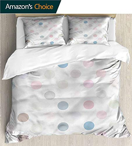(carmaxs-home Cotton Bedding Sets,Box Stitched,Soft,Breathable,Hypoallergenic,Fade Resistant Kids Bedding-Does Not Shrink Or Wrinkle-Polka Dots Soft Pastel Multicolor (104