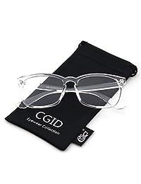 Happy Store CN82 Large Oversized Bold Frame UV 400 Clear Lens Horn Rimmed Glasses,Transparent