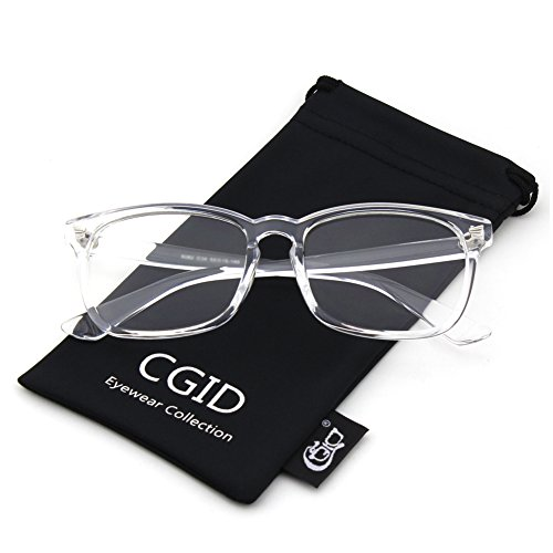Happy Store CN82 Large Oversized Bold Frame UV 400 Clear Lens Horn Rimmed Glasses,Transparent