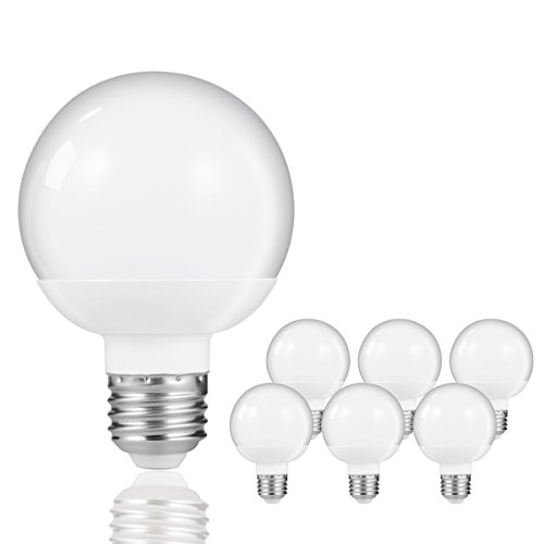 ight Bulbs, Vanity Makeup Mirror Lights, 60W Incandescent Equivalent, 8W, 800LM, Natural Daylight White 4000K, Medium E26 Base, Table Desk Lamp, Pendant, Bathroom lighting, 6 Pack ()