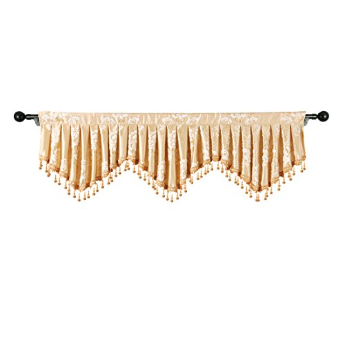 elkca Jacquard Fixed Pleated Window Curtain Valance for Living Room Scalloped Valance for Kitchen with Beaded Trim (Floral-Gold, W59)