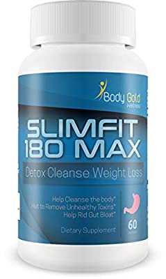 Slimfit 180 Max - Detox Cleanse Weight Loss - Help Clear Your Body of Bloating toxins - One of The Fastest Ways to Appear thinner is to Clear Excess gunk from Your Gut - Detox Your Body Today