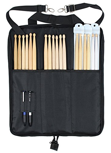 (YMC DSB10-BK 10mm Foam Drum Stick Bag Holder Mallet Bag Drumstick Bag with A Drum Key)