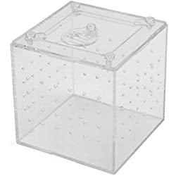 uxcell 3.1x3.1x3.1inch Clear Acrylic Assembled Feeding Box Crawler Reptiles House