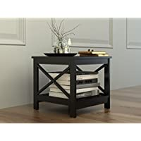Black Finish Wooden Square Chair Side End Table with Shelf