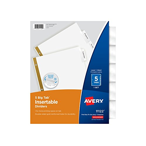 Avery big tab insertable dividers 5 clear tabs 1 set for Avery big tab inserts for dividers 8 tab template