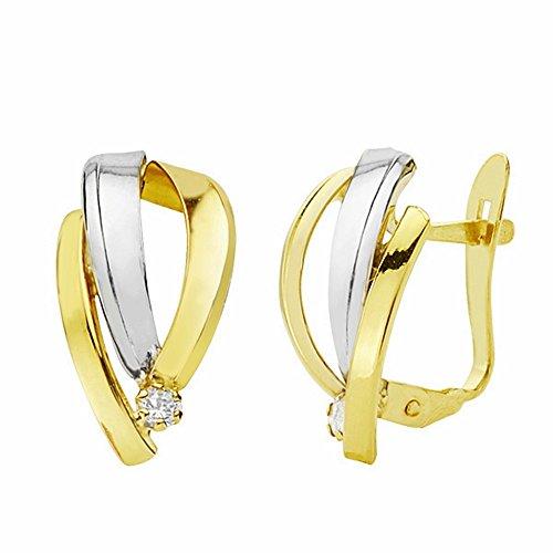 Boucled'oreille 15mm 18k bicolor d'or. bandes catalanes près [AA2180]