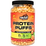 Twin Peaks Ingredients Protein Puffs - Margherita Pizza 300g (10 Servings), 21g Protein, 2g Carbs, 120 Cals, High Protein, Low Carb, Soy Free, Gluten Free, Potato Free - Best Protein Snack