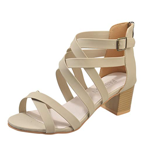 Roman Sandals Halloween - Sunhusing Women's Cross Belt Buckle Euro-American Solid Color Square Heel Back Zipper Roman Sandals Beige