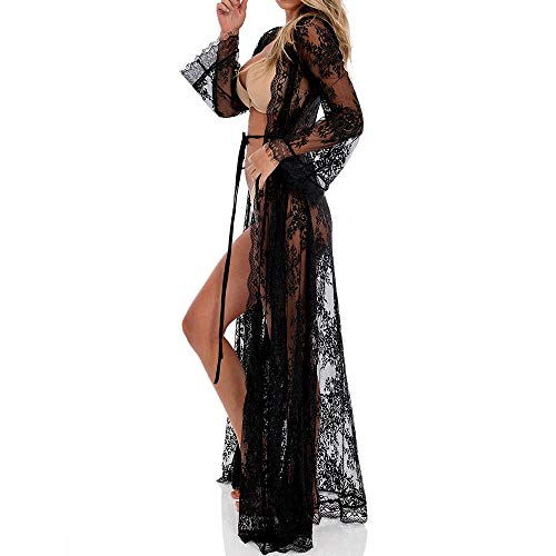 (Women Swimsuit Cover Up Long Cardigan Beach Wear Sexy Loose Swimwear Bikini Lace Floral Long Maxi Beach Dress Plus Size )