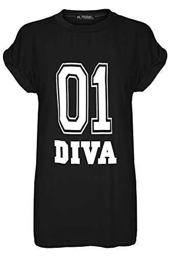 Oops Outlet Women's 01 DIVA Print Baggy Oversize Turn Up Cap Sleeve T Shirt Top S/M (US 4/6) 01 DIVA Black