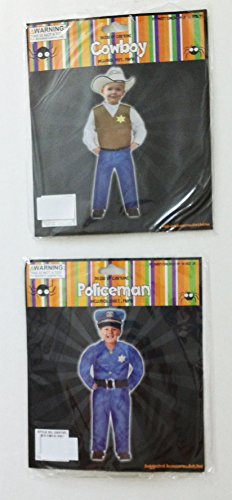 [Bundle of 2 Boys Costumes Size 1-2T: 1 Policeman, 1 Cowboy Outfit] (Policeman Boys Costume)