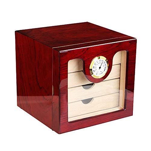 Cigar Humidors Cigar Box, Luxury Black High Glossy Piano Finish Cedar Wood Cigar Humidor Cabinet Storage Box W/ 4 Drawers Hygrometer Humidifier