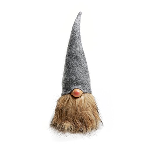 Handmade Swedish Tomte,Santa - Gnome Figurines Plush-Valentine's Day Gift Birthday Gift - Home Ornaments Holiday Decoration Table Decor - 12 Inches Grey
