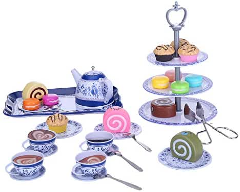Kimanli Pretend Play, 39-Piece Blue and White Porcelain Tea Set Cake Stand and Dessert Play Food