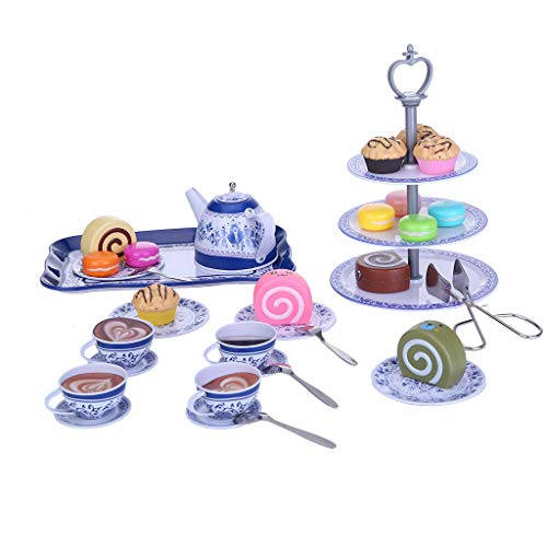 Blue and White Porcelain Pattern Tea Set Cake Stand and Dessert Foods Pretend to Play with Children's Toys Mini Kitchen Toys 39 Piece Set