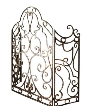 Ornate Antique Gold Scroll Iron Fireplace Screen