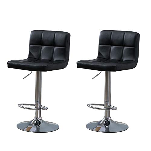 Samincom Modern PU Leather Swivel Adjustable Barstools,Synthetic Leather Hydraulic Counter Stools Square Height Bar Stool Black Set of 2