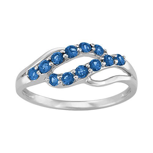 ArtCarved Iridescent Simulated Sapphire September Birthstone Ring, 10K White Gold, Size 7