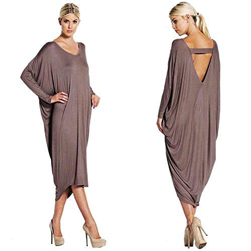 ALAIX Womens' Long Sleeve Caftan Loose Irregular Hem Autumn Maxi Dress Coffee, One Size