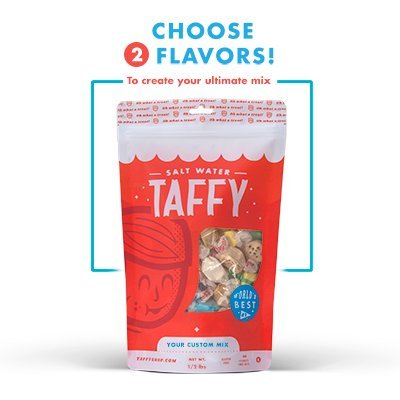 Taffy Shop Create a 1/2 pound bag of Assorted Saltwater Taffy--Choose up to 2 Flavors of Gourmet Salt Water Taffy's (World's Best (Flavor 1/2 Pound)