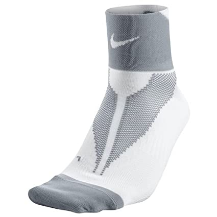 Nike One-Quarter Socks Elite Run Lightweight Calcetines, Unisex Adulto, Blanco/Gris